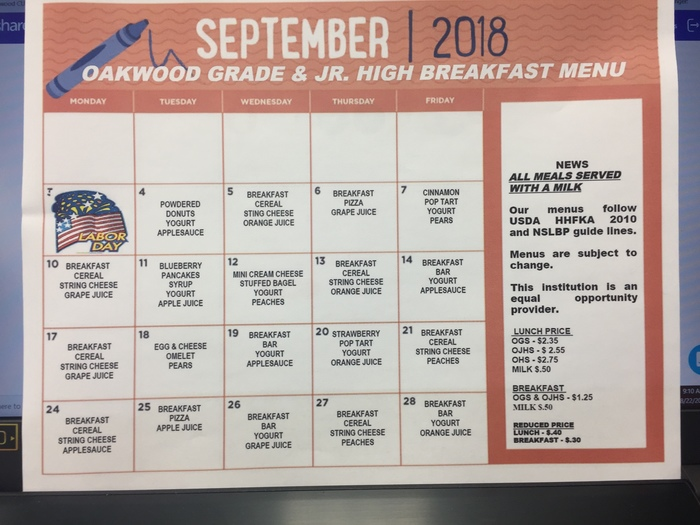 sept breakfast menu