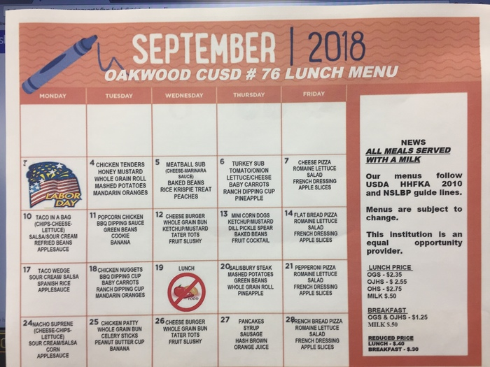 Sept Lunch menu