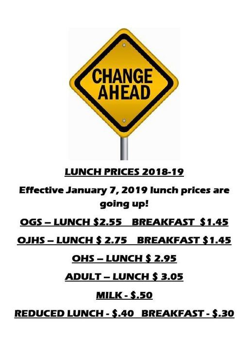 Lunch Price Info
