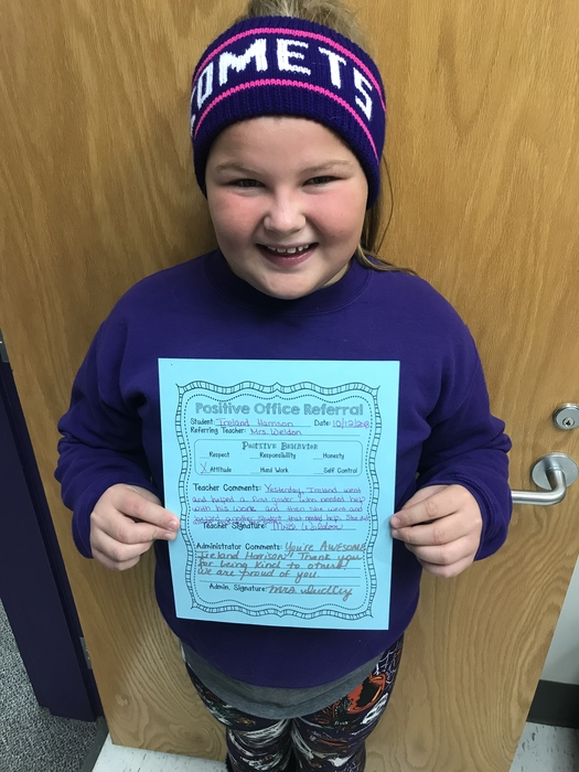 Ireland Harrison — positive office referral!  You're Awesome!